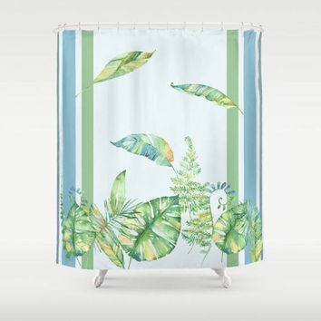 Greenery Shower Curtain - watercolor foliage, tropical rainforest, stripes, blue green,  art, bathroom,  exotic, leaves,  decor
