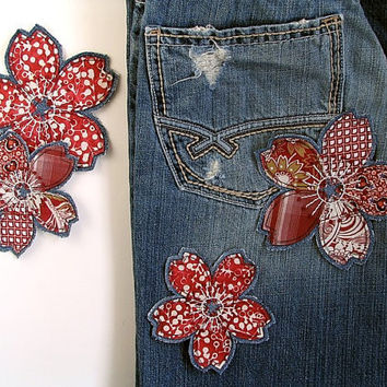 Red Flower Patch, Bohemian Hippie Flower, Clothing Patch, Tattered Hand Embroidered Upcycled Denim, OOAK Wearable Art, Unique Valentine Gift