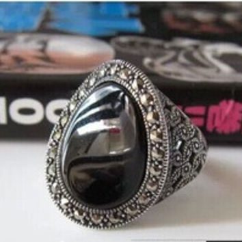 Thai silver retro lady black onyx rings sterling silver hollow Marcasite Ring