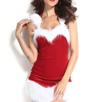 Christmas Sleeveless Hooded  Bodycon Mini Dress