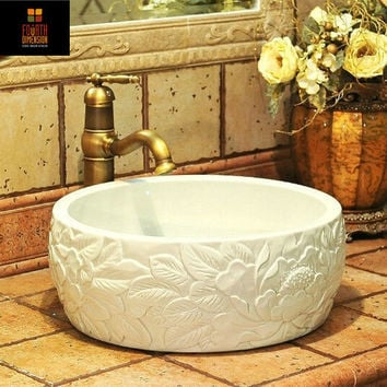 Artistic Porcelain Handmade Embossed Ceramic Lavabo Bathroom Vessel Sinks