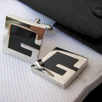 Letter Cufflinks - Letter G Cufflinks - Cuff links - Black and silver cufflinks - Anniversary Gift for men by Terrence Macbeth