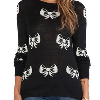Black White Bows Knitted Short Sweater
