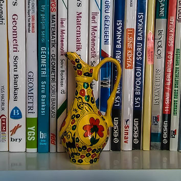 Miniature Jug, Flower Decorated Pottery Carafe, Folk Design Pitcher, Home Decor, Mother's Day Gift, Birthday Ornament, Gift for Her