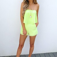 You're My Main Squeeze Romper: Lemon