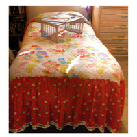 80's Amazing Strawberry Shortcake Twin Bedspread & Matching 2 Pair Rod Pocket Ruffled Curtains Authentic Original Girls Bedroom Set by Sears