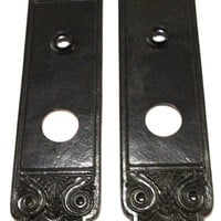 SALE! Door Knob Tall Plates /  2 (1 Pair) Beautiful Estate Antique hand forged in solid brass and coated in Wrought Iron Black Finish.