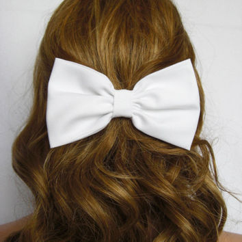 White Hair Bow hair accessories cute accessories cute hair bow hair clips White bow for hair bow for sale on Etsy hair accessories for women