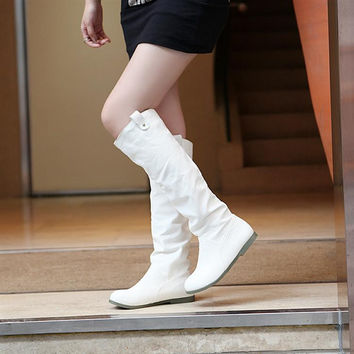Women Knee High Boots Soft Leather Wedges Shoes Woman 2016 3395