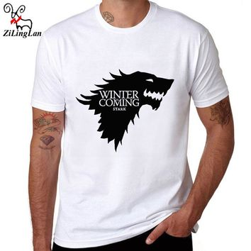 ZiLingLan Funny Game of Thrones T Shirt Men Cool The North Remembers Blood Wolf T-shirt Men's Tee Shirts Camisetas US/EUR Size