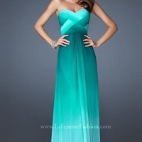 Ombre Crisscross Evening Gown by La Femme