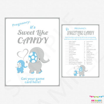 Blue and Gray Elephant Baby Shower Games, Candy Match Game AND Sign, Blue Boy Baby Shower, Printable Download How Sweet It Is Game ELLBG