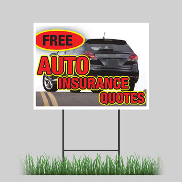 """18""""x24"""" Free Auto Insurance Quotes Car Motorcycle Yard Sign Store Sign"""
