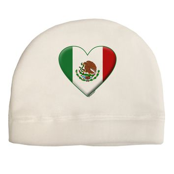 Mexican Flag Heart - Beveled Child Fleece Beanie Cap Hat by TooLoud