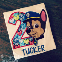 Personalized Paw Patrol Chase Birthday Design - Multi - Color
