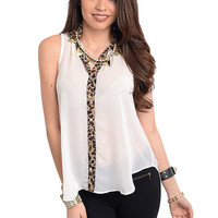 Discounted Contrast Animal Print Top (White) in TOPS