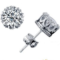 Women's Sterling Silver Crystal Jewerly Double Stud Earing