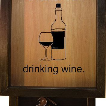 "Wooden Shadow Box Wine Cork Holder with Corkscrew 9""x15"" - I'd Rather Be Drinking Wine"