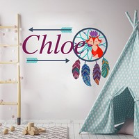 Fox Personalized Name Wall Decal Dream Catchers Boho Decor Full Color Mural for Nursery Girls Name Colorful Vinyl Sticker SD5