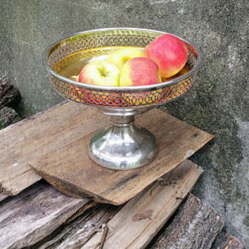 Antique Silverplate Pedestal Fruit Bowl Farber Brothers New York Sheffield Plated