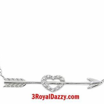 14k gold layer Eternally Haute Sterling Silver Pave Cupid Heart & Arrow Necklace