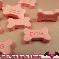 5 pcs Pink DOG BONE Flatback Decoden Resin Kawaii Cabochons 19x11mm