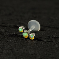 Lime Green Opal 3 stones curved push in 16g bio flexible tragus / cartilage / conch ear piercing (1pc)