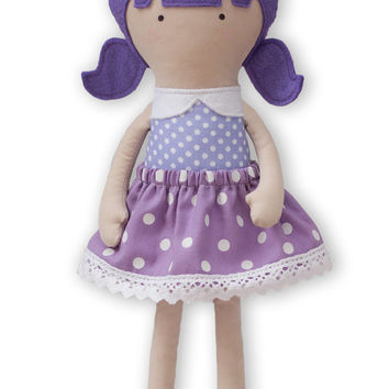 Cloth Doll Handmade Rag Doll 12 inches My Fashion Doll Handmade Dress Up Doll Soft Doll with Lilac and white dotted skirt, Lilac hair