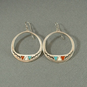 Vintage Native American Sterling NAVAJO Hoop EARRINGS Turquoise Spiny Oyster Inlay Dangles Double-Sided Earring Hoops HAND Piercings