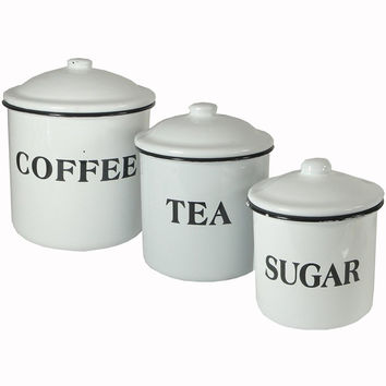 Set of 3 Enameled Metal Coffee Tea Sugar Containers Creative Co-op