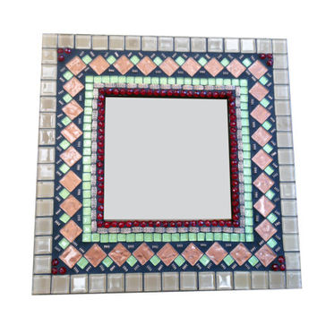 Mosaic Mirror Bronze, Copper, Green, Red