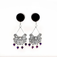 Black Chandelier Plugs with Deep Purple Gems  / 6g, 4g, 2g, 0g, 00g, 1/2in, 9/16, 5/8 inch / black dangle plugs / hanging black gauges