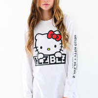 Hellz Bellz x Hello Kitty Wink White Longsleeves