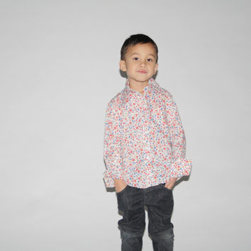 Kid's Vintage 1970s  Floral Disco Dress Shirt