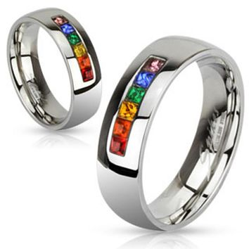 Centered String of Rainbow Color Gems Band Ring Stainless Steel