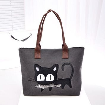 Fashion Women Small Canvas Bag Cute Cat Bag Office Lunch Bag Women Shoulder Handbag Ladies Bags
