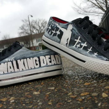 The Walking Dead Rick Grimes Hand Painted Canvas Lace Up Shoes
