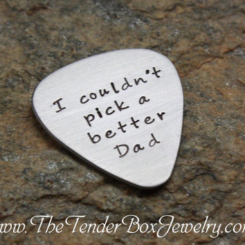 Free Shipping Personalized guitar pick hand stamped stainless pick Guitar pick for dad greatest dad