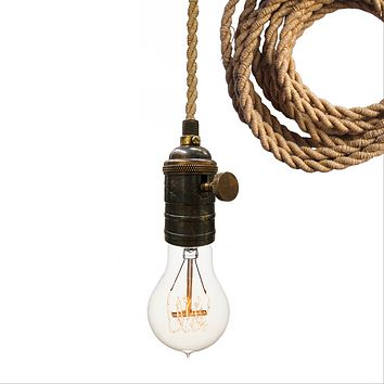 Nautical Ship Rope Cloth Cord & Bronze Bare Bulb Pendant Light