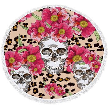 Skull flower Pattern Summer Large Microfiber Print Round Beach Towel