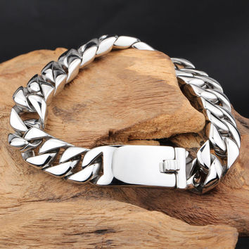 Fashion New Link Chain Stainless Steel Bracelet Men Heavy 12MM Wide Friendship Mens Bracelets  Bicycle Chain Wristband