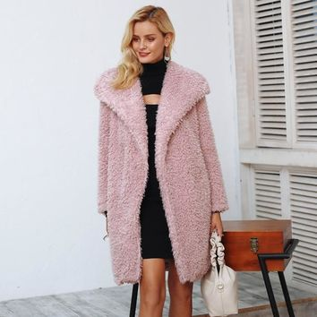 Koko Faux Fur Coat - Pink