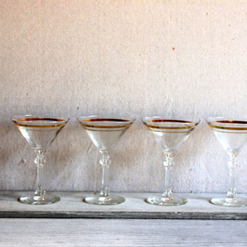 4 Mid-Century Martini Glasses with Gold Rings : vintage