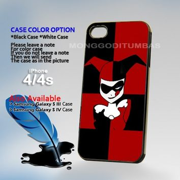 Harley Quinn Batman Joker , Print on Hard Cover iPhone 4/4S Black Case