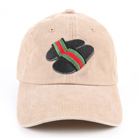 The Gucci Slides Dad Hat in Khaki Mineral