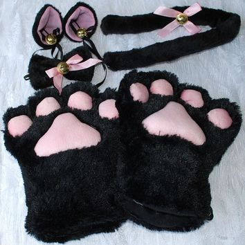 1 Set Cat Ears Plush Paw Claw Gloves Tail Ribbon Anime Cosplay Costumes 5 Colors Free Shipping