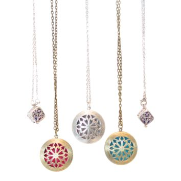 Diffuser Locket Necklaces Round