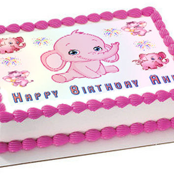 Pink Elephant Edible Birthday Cake Topper OR Cupcake Topper, Decor