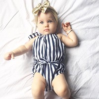 Baby Girl Clothes Navy Striped Bodysuit Outfits Clothes