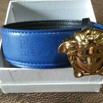 Versace Men's Gold Medusa Head Blue Leather Belt NEW Size: 41